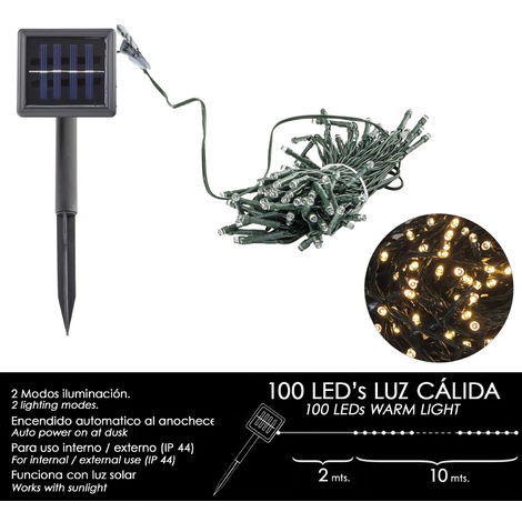 Luces Navidad Solar 100 Leds Luz Cálida Interior / Exterior (IP44)