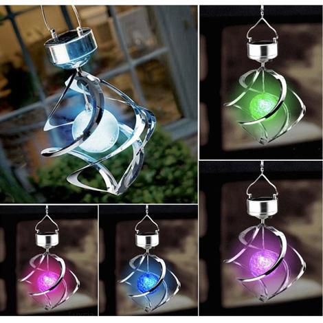 Luces solares colgantes, luces de campanas de viento al aire libre, plata