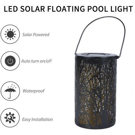 Luces solares LED, Farol colgante de luces huecas, Lampara LED de proyeccion en forma de arbol de hoja
