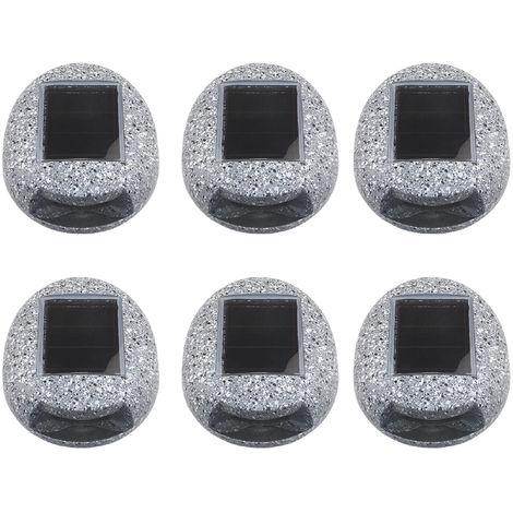 Luces solares para jardin, luz de roca en forma de piedra al aire libre, 6 piezas