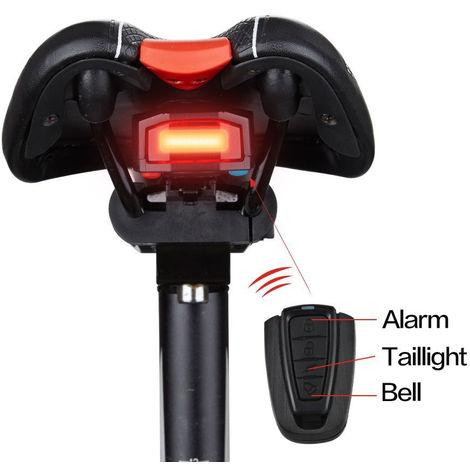 Luces traseras de bicicleta, alarma antirrobo inteligente de luz trasera de bicicleta