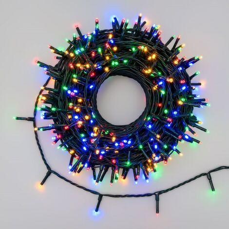 Addobbi Natalizi Luci.Luci Natale Catena 360 Led Miniled 3 Mm Luce Multicolor 25 Mt Chiara Esterno Addobbi Natalizio