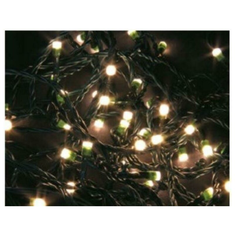 Luci natalizie 60 led bianchi caldi cavo scuro 6m ipp44 uso esterno