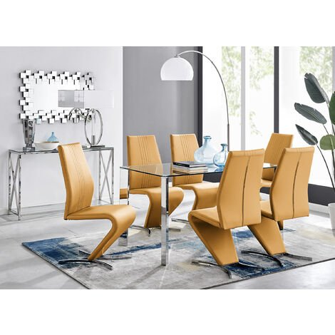 Lucia 6 Glass Chrome Table And 6 Luxury Willow Chairs Set