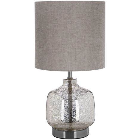 Lucia Table Lamp, Glass / Metal, Natural Fabric Shade