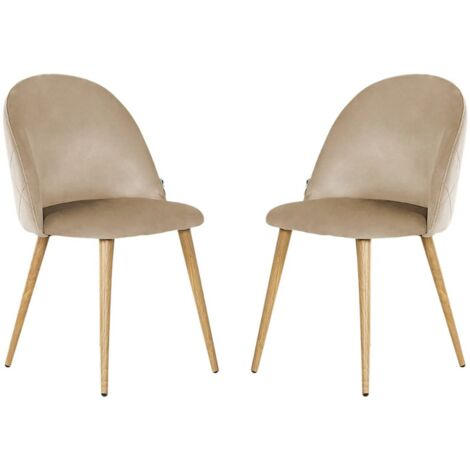 Lucia Velvet Chair | Dining Chair | Retro Style | Padded | Solid Legs | SET OF 2 (BEIGE)