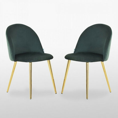 Lucia Velvet Chair | Dining Chair | Retro Style | Padded | Solid Legs | SET OF 2 (GREEN)