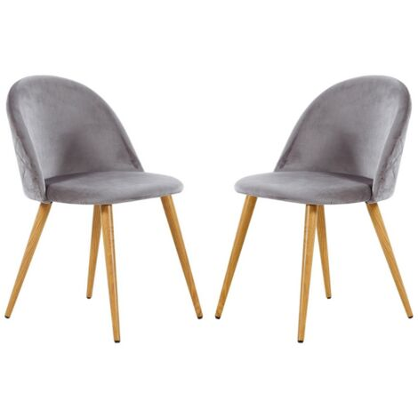 Lucia Velvet Chair | Dining Chair | Retro Style | Padded | Solid Legs | SET OF 2 (GREY)