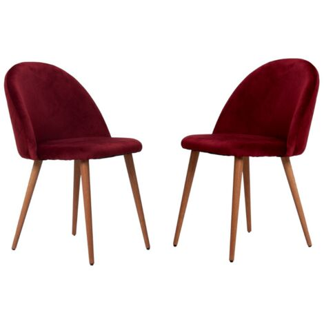 Lucia Velvet Chair | Dining Chair | Retro Style | Padded | Solid Legs | SET OF 2 (WINE RED)