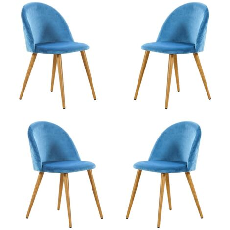 Lucia Velvet Chair | Dining Chair | Retro Style | Padded | Solid Legs | SET OF 4 (BLUE)