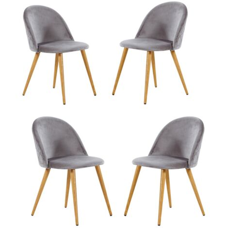 Lucia Velvet Chair | Dining Chair | Retro Style | Padded | Solid Legs | SET OF 4 (GREY)