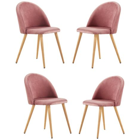 Lucia Velvet Chair | Dining Chair | Retro Style | Padded | Solid Legs | SET OF 4 (PINK)