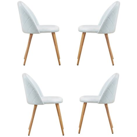 Lucia Velvet Chair | Dining Chair | Retro Style | Padded | Solid Legs | SET OF 4 (SKY BLUE)