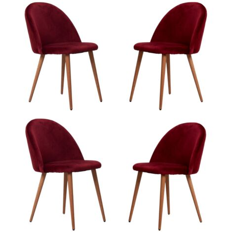 Lucia Velvet Chair | Dining Chair | Retro Style | Padded | Solid Legs | SET OF 4 (WINE RED)