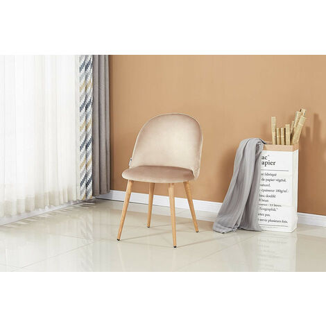 Lucia Velvet Chair | Dining Chair | Retro Style | Padded | Solid Legs | SINGLE CHAIR (BEIGE)
