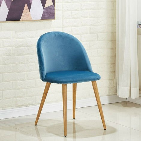 Lucia Velvet Chair | Dining Chair | Retro Style | Padded | Solid Legs | SINGLE CHAIR (BLUE)