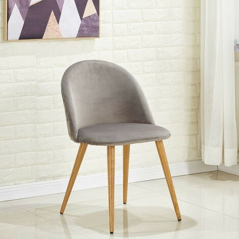 Lucia Velvet Chair | Dining Chair | Retro Style | Padded | Solid Legs | SINGLE CHAIR (GREY)
