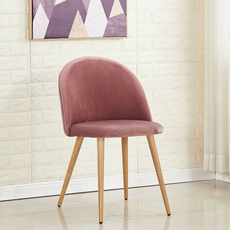 Lucia Velvet Chair | Dining Chair | Retro Style | Padded | Solid Legs | SINGLE CHAIR (PINK)