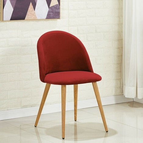 Lucia Velvet Chair | Dining Chair | Retro Style | Padded | Solid Legs | SINGLE CHAIR (WINE RED)
