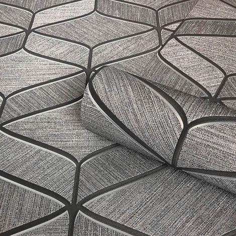 Luciano Geometric Wallpaper Grey Silver Metallic Italian Textured Vinyl