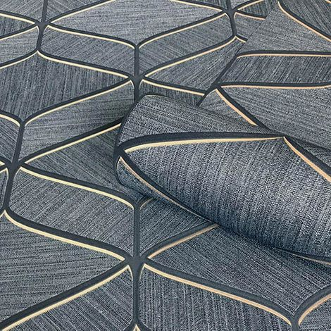Luciano Geometric Wallpaper Silver Navy Metallic Italian Textured Vinyl from YöL