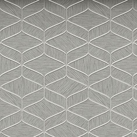 Luciano Textured Wallpaper Belgravia Decor Silver Grey Vinyl Metallic Trellis