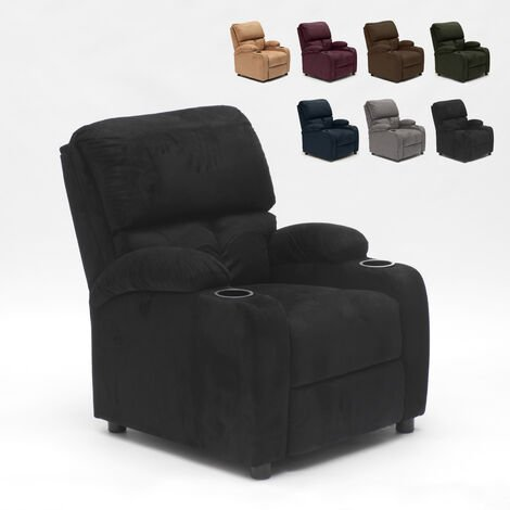 LUCREZIA Recliner Chair with Footrest made of Microfibre with Velvet