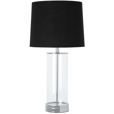 Ludo Table Lamp, Glass / Chrome Metal, Black Fabric Shade