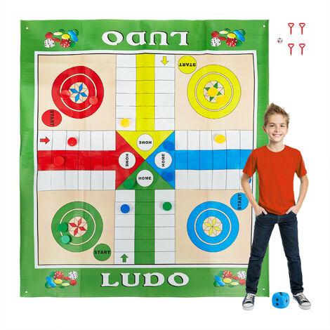 Ludo tapis, XXL, grand tapis de jeu comprenant 16 pions, 2 dés, 4 sardines, jardin, 160x180 cm, coloré