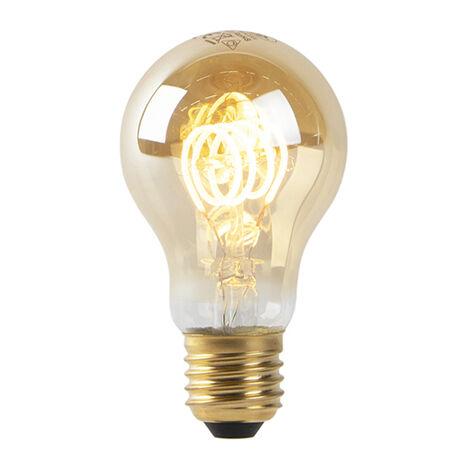 LUEDD Bombilla filamento espiral dorada LED A60 E27 4W 2200K regulable