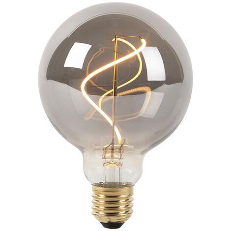 LUEDD Bombilla filamento espiral LED regulable E27 G95 ahumada 4W 100lm 2100K