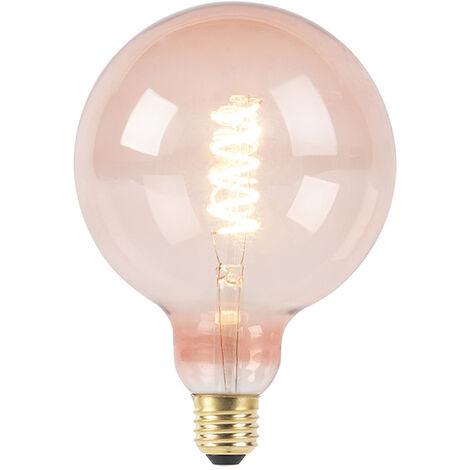 LUEDD Bombilla filamento espiral rosa LED regulable E27 G125 200lm 2100K