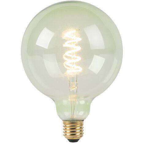 LUEDD Bombilla filamento espiral verde LED regulable E27 G125 200lm 2100K