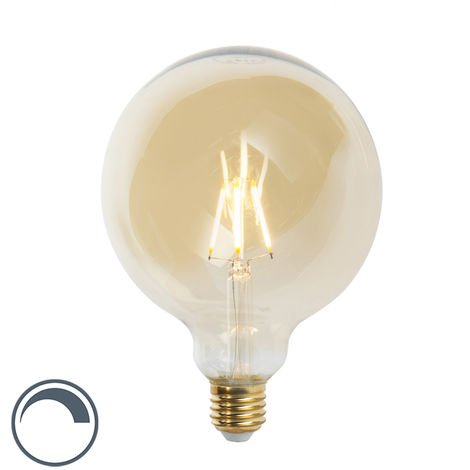 LUEDD Bombilla filamento LED regulable E27 G125 GOLDLINE 2200K