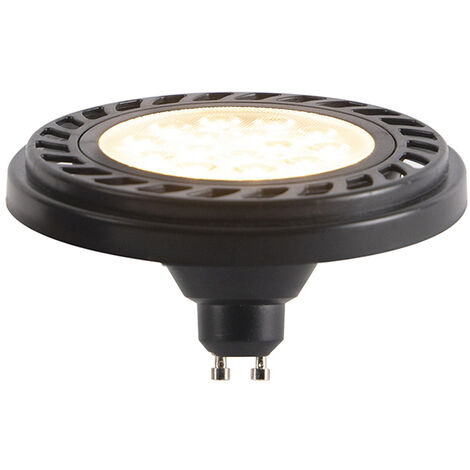 LUEDD Bombilla LED GU10 regulable AR111 negro 9W 800lm 2700K