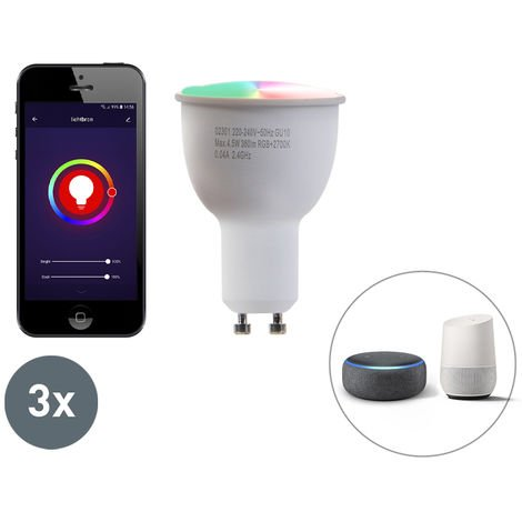 LUEDD Conjunto de 3 lámparas LED regulables GU10 WiFi Smart con aplicación 4.5W 380 lúmenes 2700K