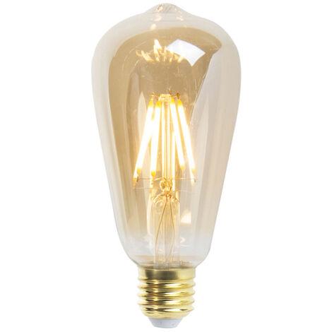 LUEDD Conjunto de 5 lámparas de filamento LED regulables E27 ST64 goldline 5W 360 lm 2200K