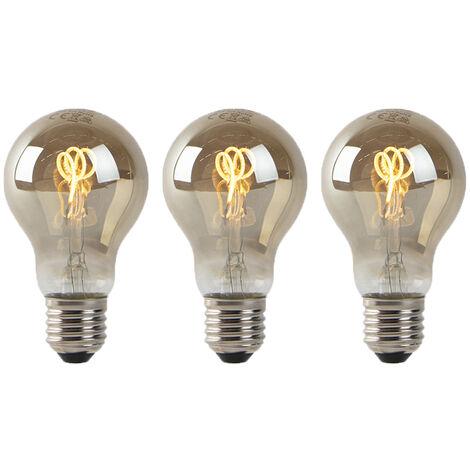 LUEDD Set 3 bombillas filamento espiral LED E27 ahumado 80lm 2200K