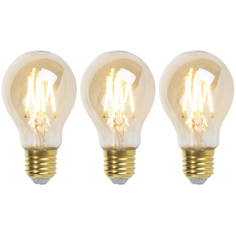 LUEDD Set 3 bombillas filamento LED regulables E27 GOLDLINE 360lm 2200K