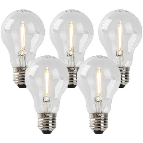 LUEDD Set 5 bombillas filamento LED E27 A60 1W 80lm 2200K