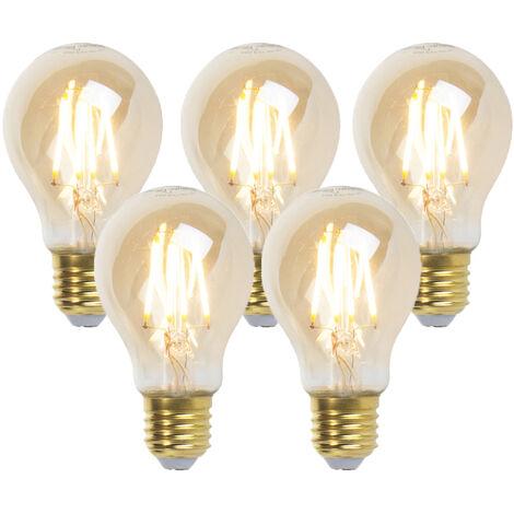 LUEDD Set 5 bombillas filamento LED regulables E27 GOLDLINE 360lm 2200K