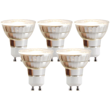 LUEDD Set 5 bombillas LED GU10 COB 5W 380lm 2700K