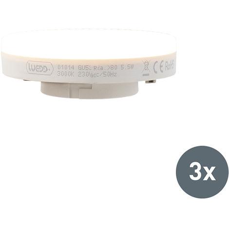 LUEDD Set de 3 bombillas LED GX53 5.5W 470 lumen 3000K