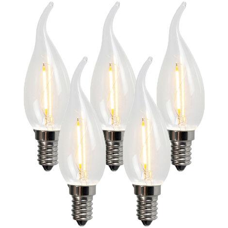 LUEDD Set de 5 bombillas de vela LED filamento E14 1W 100lm 2200K