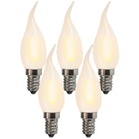 LUEDD Set de 5 bombillas LED E14 1W 80LM 2200K cristal opalino