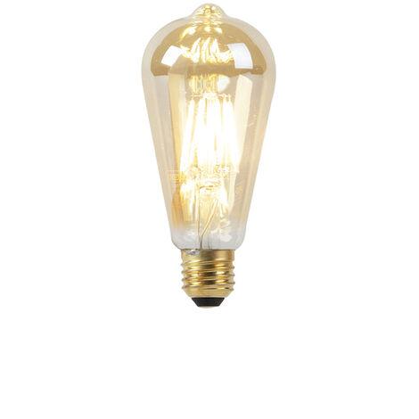 LUEDD Set de 5 bombillas LED E27 8W 2000-2600K filamento GOLDLINE