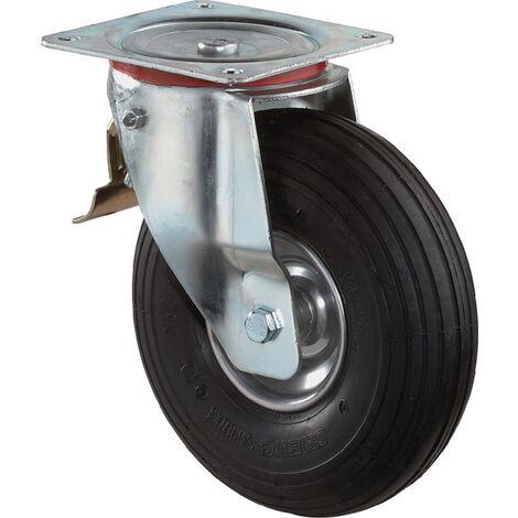 Luftrad D.200mm Trgf.75kg m.Platte Lenkrolle Luftbereifung schwarz