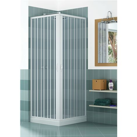 LUGABIAC075075 Box doccia a due lati, dim. 75*75 cm x H 185 cm, in PVC, due ante, con apertura angolare.
