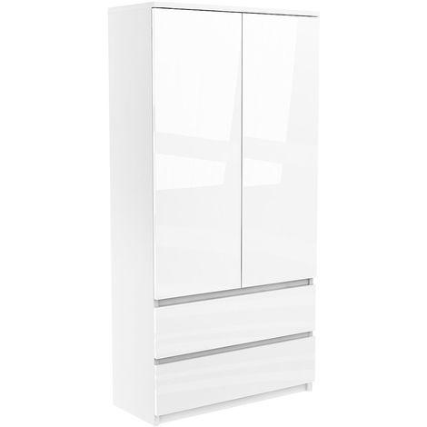 LUGO | Armoire gloss/brillante chambre/bureau 180x85x55 | Penderie multifonctions | 2 portes&2 tiroirs | Meuble rangement Dressing | Blanc Gloss