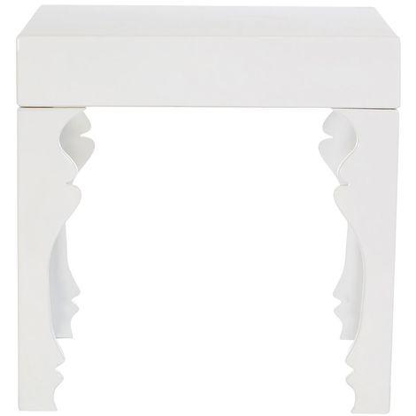 Luis side table, medium-density fibreboard, white high gloss